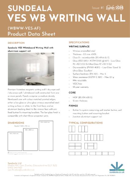 Sundeala VES Whiteboard Writing Wall - Product Data