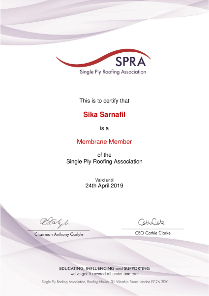 Single Ply Roofing Association Certificate