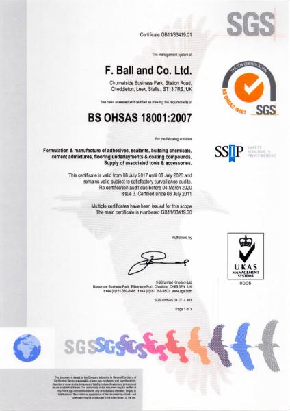 BS OHSAS 18001:2007 Certificate