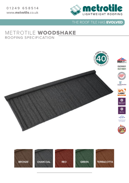 Metrotile Woodshake Lighweight Roofing Example Specification