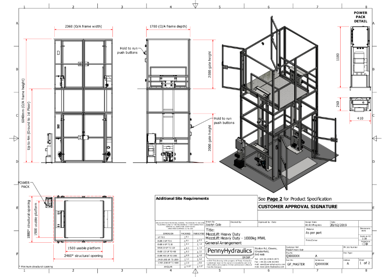 MezzLift Heavy Duty - 1000kg Goods Lift Technical Data Sheet