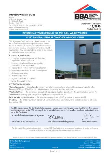 12/4890 HF210 Timber/Aluminium Composite Window System