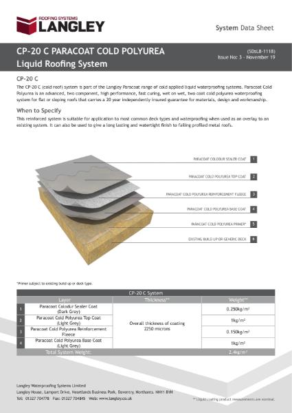 CP-20 C Paracoat Cold Polyurea System Data Sheet