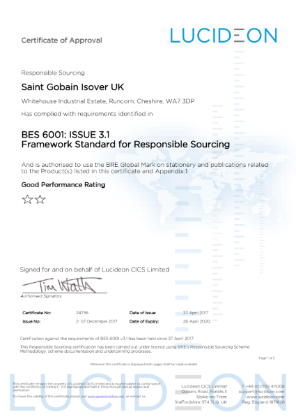 Manufactured under BES 6001 the Responsible Sourcing Framework - Certificate Number 24756