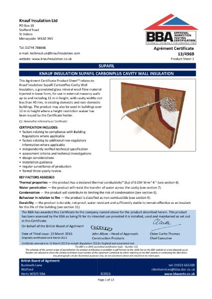 13/4969 Supafil® CarbonPlus Cavity Wall Insulation