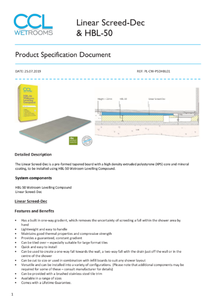 Linear Screed-Dec - Product Specification
