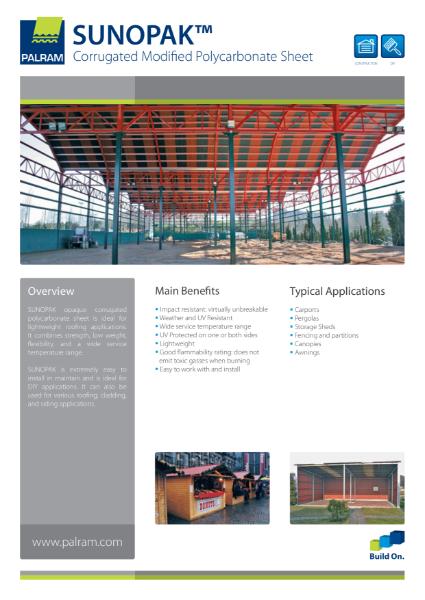 Sunopak - Corrugated Modified Polycarbonate Sheet
