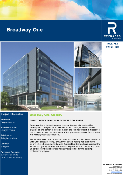 Case Study: Broadway One, featuring CW 50 curtain wall