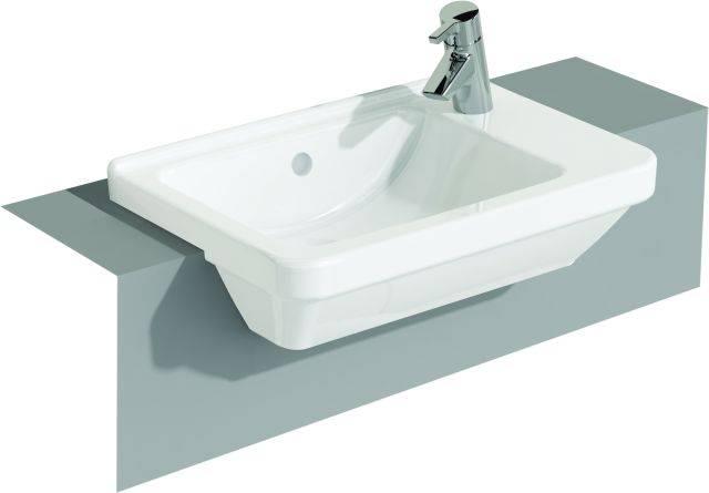 VitrA S50 Compact Semi-recessed Washbasin, 55 cm, Square, 5340