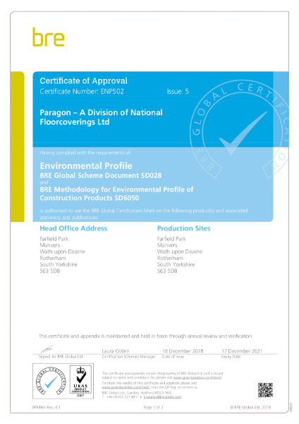 Paragon Carpet Tiles - BREEAM Certificate