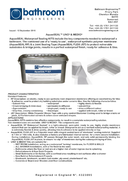 Waterproof Membrane AquaeSeal Uno & Medio
