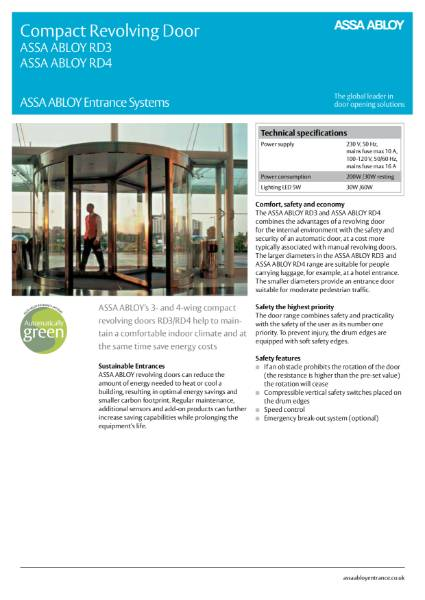 Automatic Revolving Door - Compact Framed - ASSA ABLOY RD3/RD4