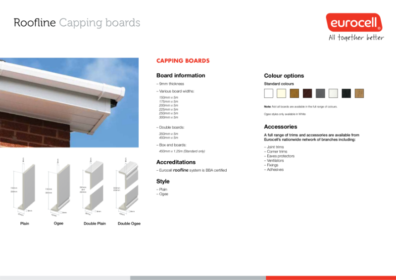 Roofline Capping Boards Product Specification