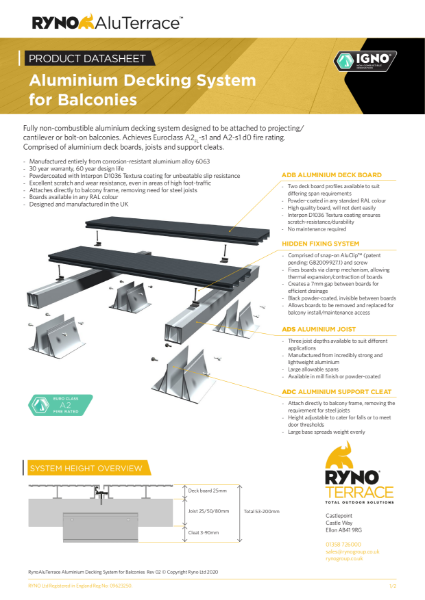 Datasheet - Aluminium Decking System for Balconies