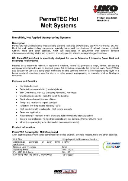 IKO PermaTEC Hot Melt Systems Product Datasheet