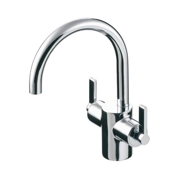 Silver Dual Control One Hole Basin Mixer