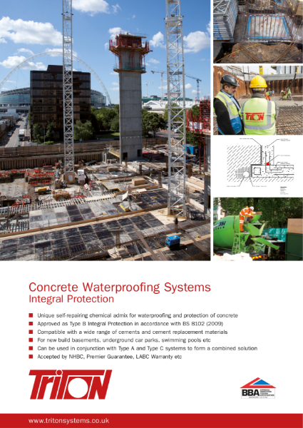 Triton Systems Type B Structural Waterproofing (watertight concrete) brochure