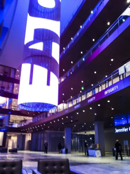 Eaton Experience Center - Powering Up with a Stunning AV Chandelier and Curtain
