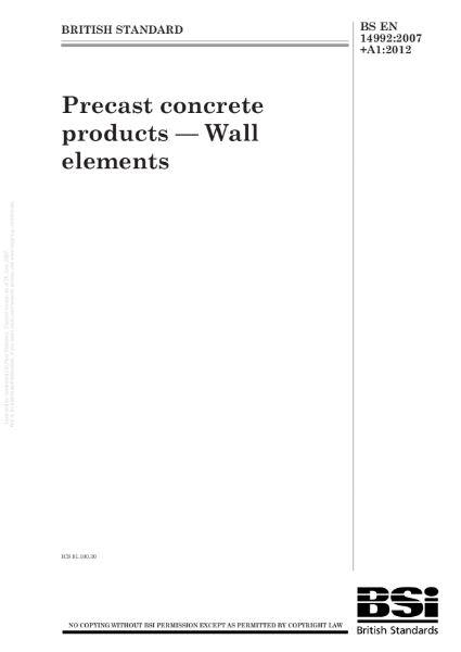 GRC/GFRC Facades – BS EN 14992:2007+A1:2012 Precast concrete products - Wall elements