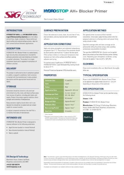 Hydrostop AH+ Liquid Waterproofing Blocker Primer Datasheet
