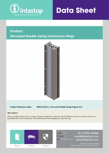 Data Sheet - Shrouded Double Swing Hinge