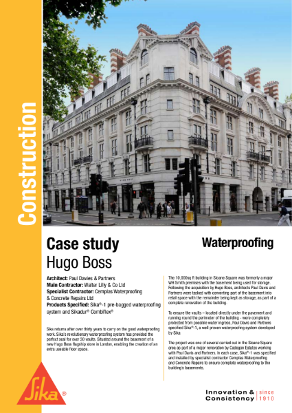 Waterproofing Hugo Boss Case Study