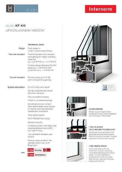 UPVC Aluminium Clad Window KF410 Studio Data Sheet