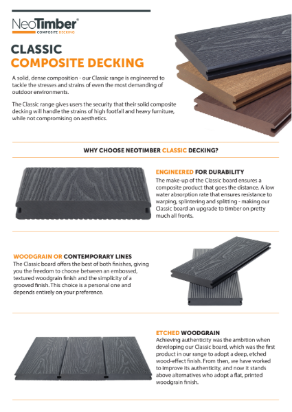 NeoTimber Classic Composite Decking Technical Specifications