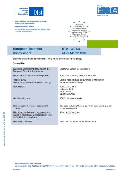 European Technical Assessment for JORDAHL PUNCHING SHEAR REINFORCEMENT - JDA - ETA-13/0136