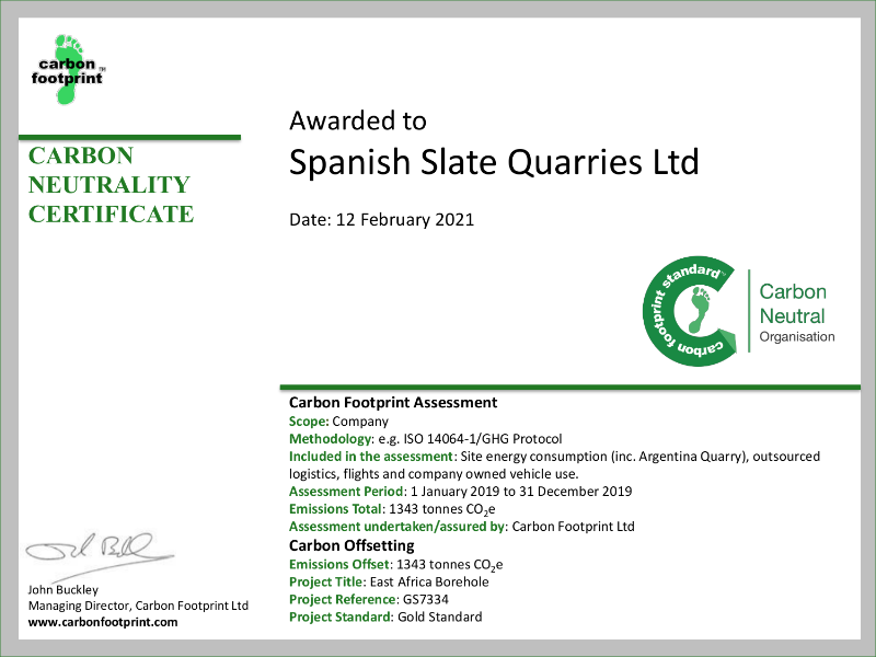 CFP Carbon Neutral Certificate - Spanish Slate Quarries
