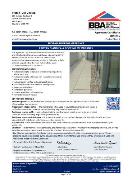 BBA Certificate Protan G and EX-A Single Ply Membrane