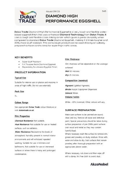 Dulux Trade Diamond High Performance Eggshell