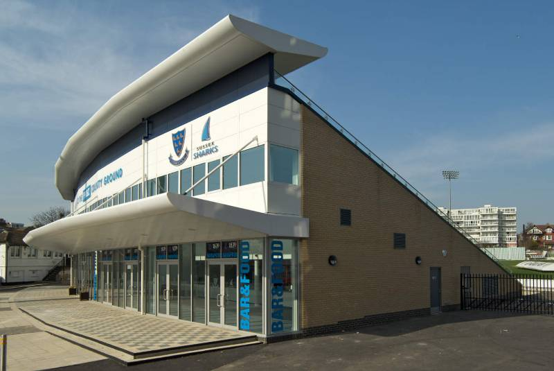 Aluminium eaves system supplied to cricket ground
