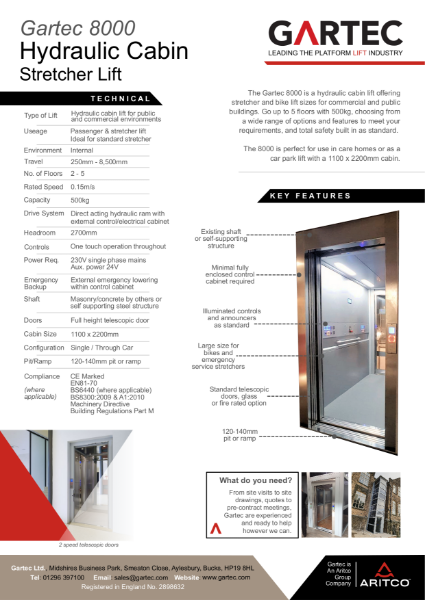 Gartec 8000 Hydraulic Cabin Stretcher Lift Information Sheet