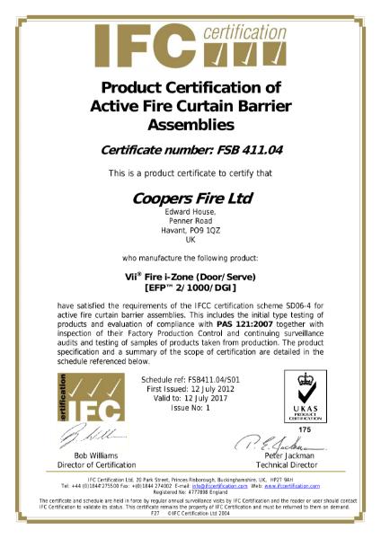 Certificate number FSB 411.04