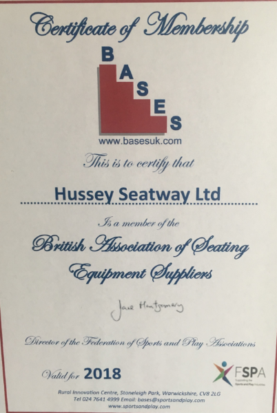 British Association of Seating Equipment Suppliers Certificate