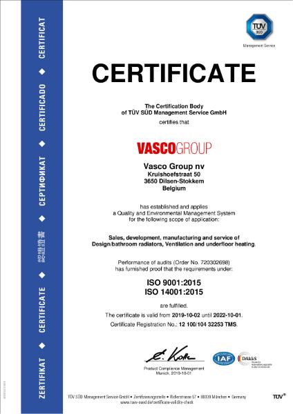 Vasco Group ISO Certificate 9001 - 14001