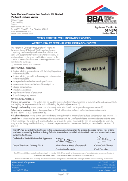 09/4670 Weber.Therm XP External Wall Insulation System (Product Sheet 2)