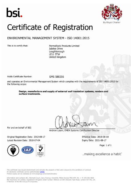 PermaRock BSI ISO 14001 Environmental Management Certificate