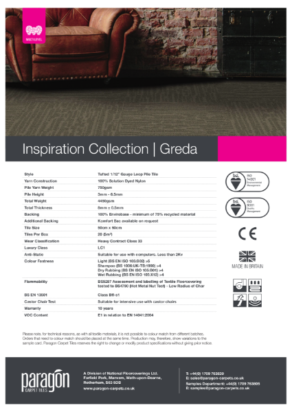 Paragon Carpet Tiles - Inspiration Collection - Greda - Specification Information
