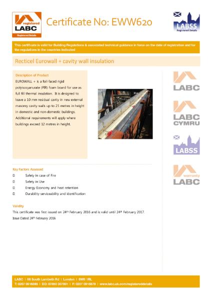 LABC Certificate - Recticel Eurowall +