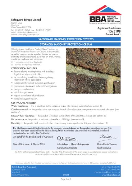 15/5198 Stormdry Masonry Protection Cream