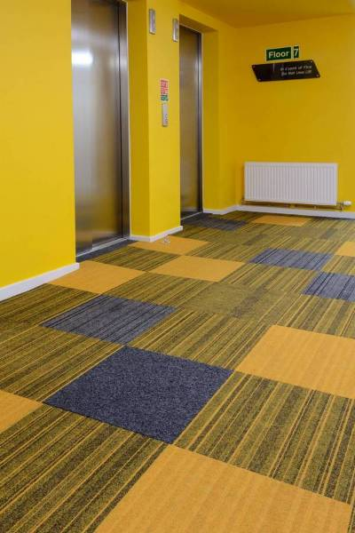 student accommodation finished in colourful structure bonded® carpet tiles