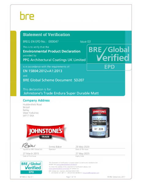 Environmental Product Declaration (EPD): BREG EN EPD No.: 000047