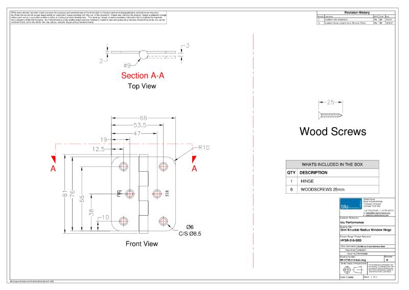 BLU™ - HY3 Slim Knuckle Window Hinge CAD