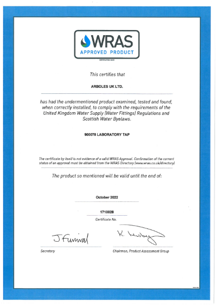 WRAS Approval Certificate For 900078 Mixer Tap
