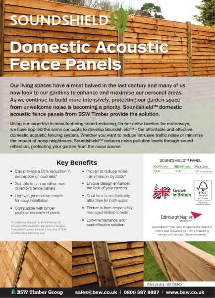 Soundshield Domestic Acoustic Fence Panels