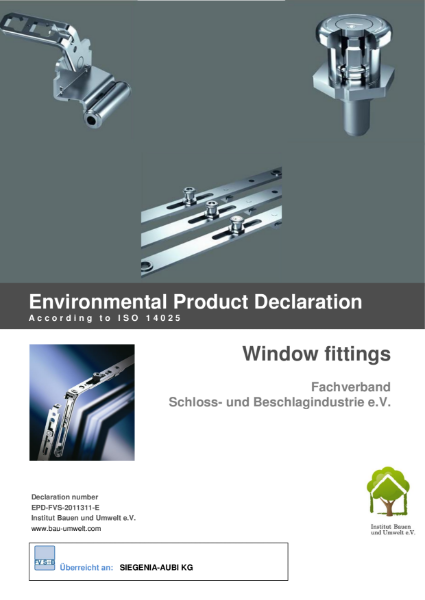 Environmental Product declaration ISO 14025 window fittings