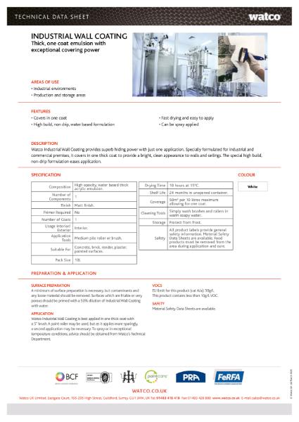 Data Sheet: Industrial Wall Coating