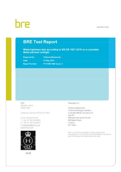 BRE Watertightness Test BS-EN1027:2016